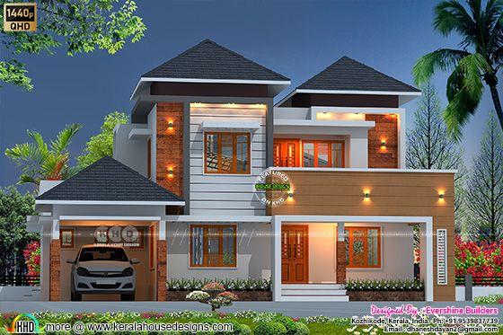 4 bedroom sloping roof home design
