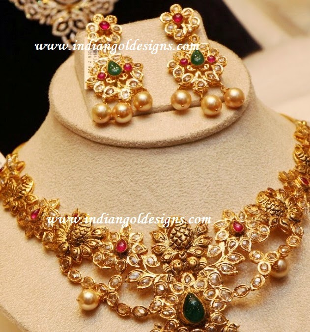 img line set jewells necklace diamond uncut necklaces proddetail jaipur abhishek single