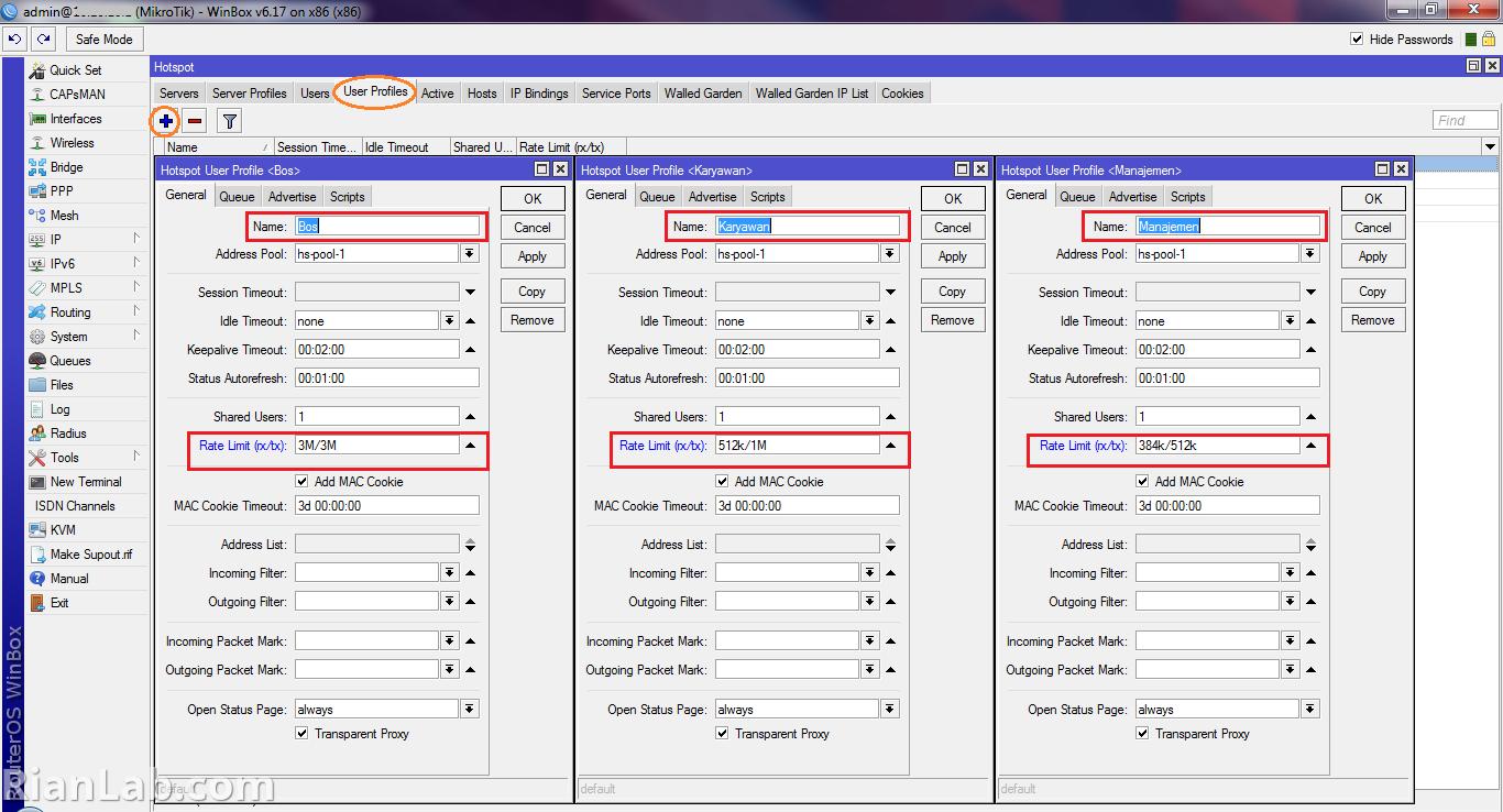 Mikrotik Hotspot User Profiles