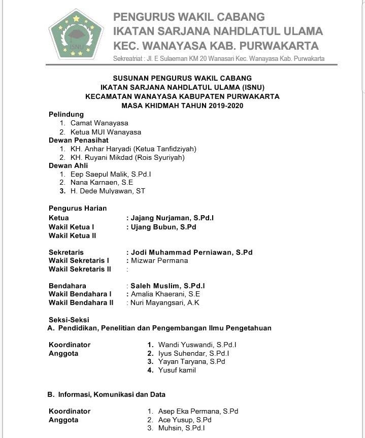 pengurus-isnu-wanayasa-purwakarta