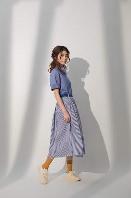 風和日麗條紋及膝裙模特兒實穿