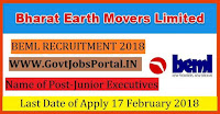 Bharat Earth Movers Limited Recruitment 2018 – Junior Executives