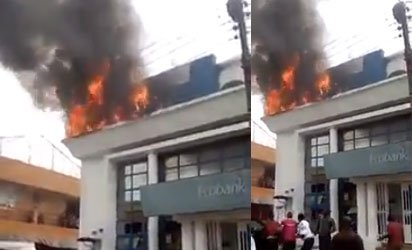 Lagos Ecobank On Fire(photos/video)