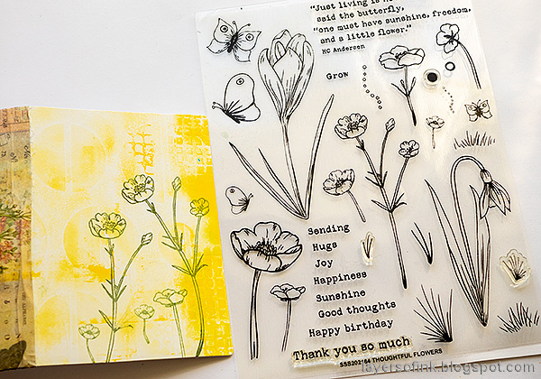 Layers of ink - Junk Journal Tutorial by Anna-Karin Evaldsson. Stamp with Simon Says Stamp Thoughtful Flowers.