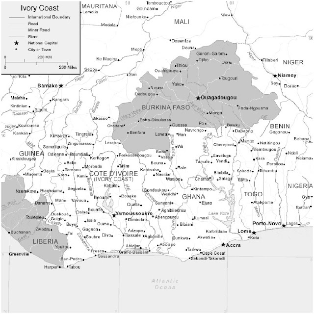 image: Black and white Ivory Coast Map