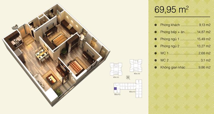 Home City Trung Kính - căn 69,95 m2