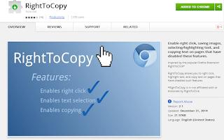 شرح طريقة نسخ اي محتوي من اي موقع لا يدعم النسخ عن طريق اضافة RightToCopy