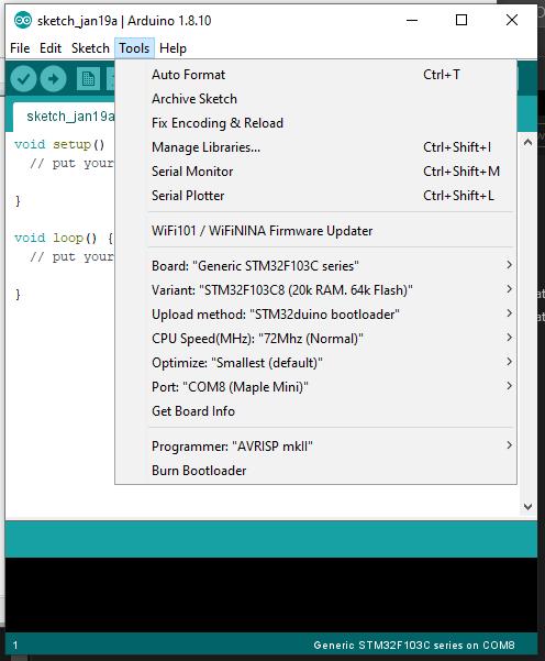 Cara Menggunakan STM32 Menggunakan USB ke Arduino IDE