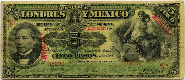 Mexico banknotes paper money 5 peso
