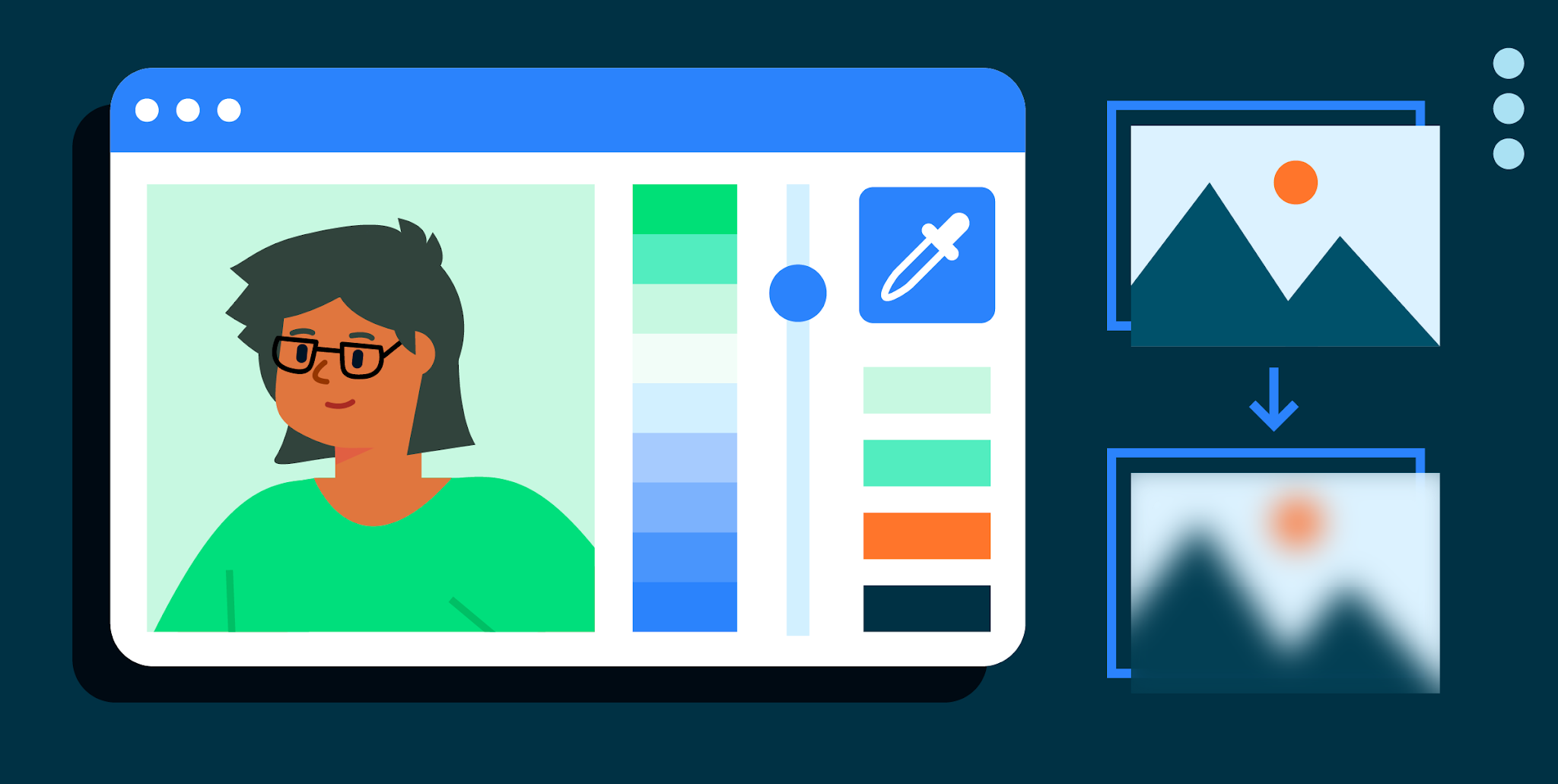 Illustration of image rendering with character
