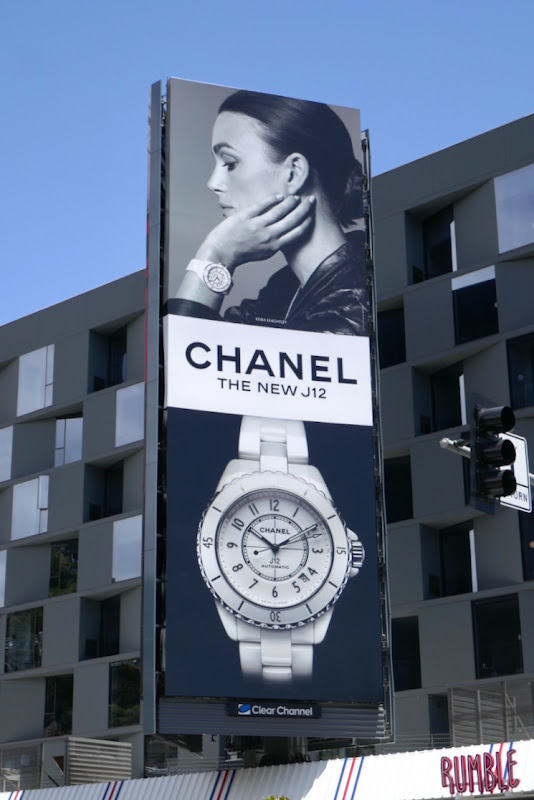 Keira Knightley Chanel J12 watch billboard