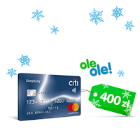 Kod rabatowy 400 zł do OleOle.pl w prezencie za darmową kartę Citi Simplicity w Citibanku