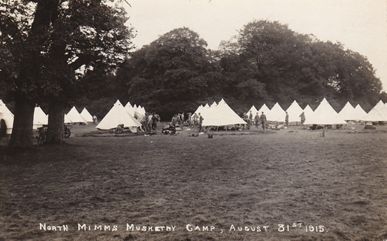 Photograph of the North Mimms Musketry Camp, august 31, 1915 - image from the Peter Miller collection