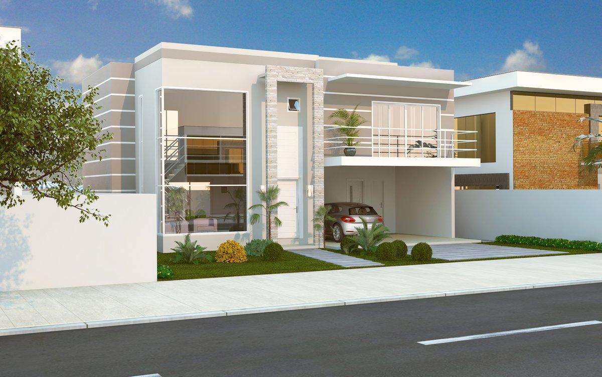 Construindo minha casa clean fachadas de sobrados for Fachadas de casas modernas 3 cuartos