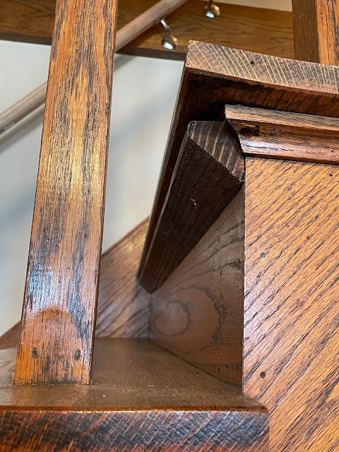 oak craftsman stairs with support under treads Grafton Illinois coffee antiques shop Lightkeepers Coffee 101 E Main St Sears Vallonia