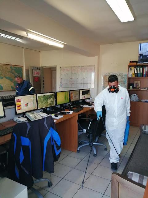 Απολυμάνθηκαν τα γραφεία των πυροσβεστικών Υπηρεσιών στην Λαμία