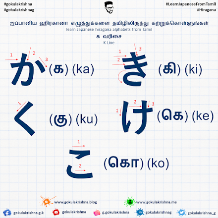 Japanese Hiragana K - Line Consonants with Stroke Order | learn Japanese hiragana alphabets from Tamil - Hiragana Letters Part 2