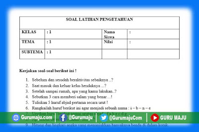 Soal UH / PH Kelas 1 Tema 1 Kurikulum 2013 Revisi Tahun 2019