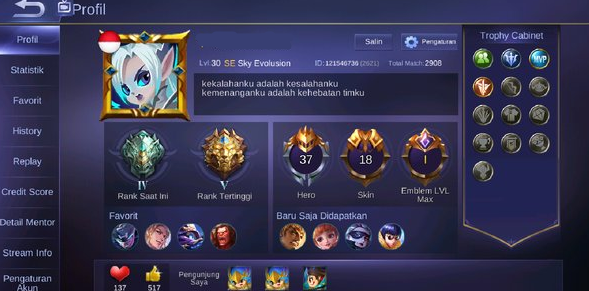 10 akun ml legend