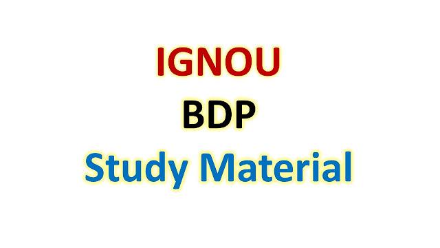 IGNOU BDP Study Material