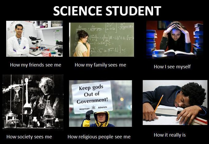 meme science student internet memes funny students scientist biology myself think expectations college religious really social bandwagon jumping chemistry teachers