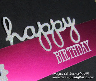 Simple birthday card made with Stampin'UP!'s Well Said Stamps and Well Written Dies. Card is high contrast with foil paper and glimmer paper on black background