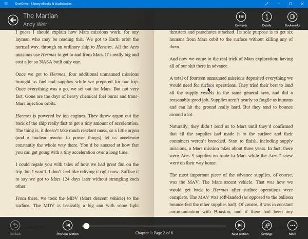 قارئ الكتاب الاليكتروني windows10- أوفردرايف