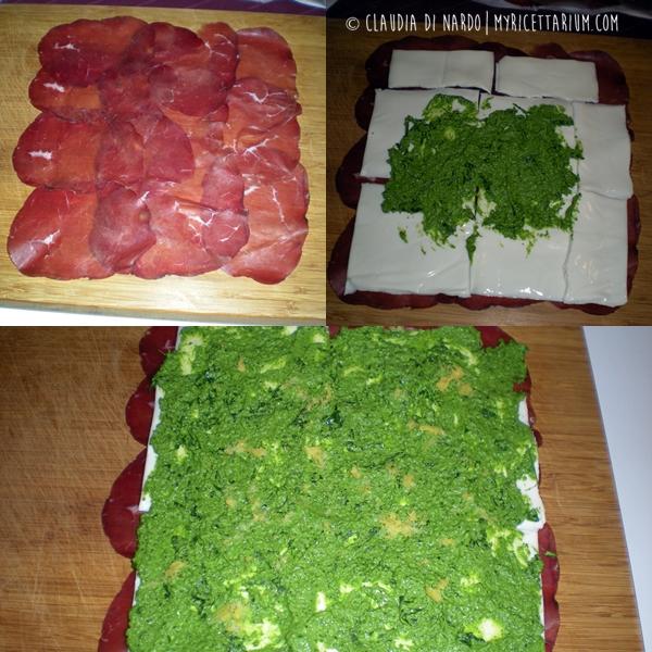 Rotolini di bresaola con pesto di rucola e formaggio