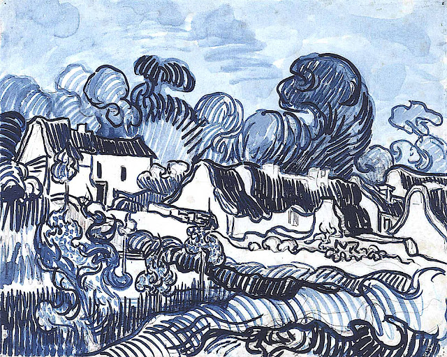 a Vincent Van Gogh sketch in blue
