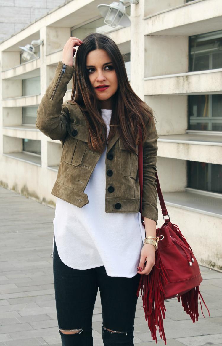 chaqueta de ante mango bolso flecos blog de moda leon littleblackcoconut