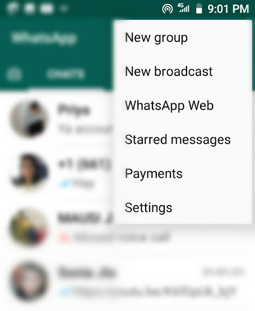 WhatsApp Payments option