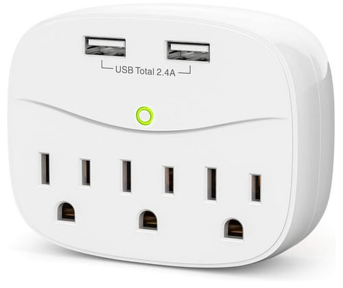 LETMY Multi Plug Outlet Extender with 2 USB Wall Charge