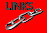 a graphic showing a set of silver links with a red background with Links written in capital dark silver letters with a black border and a red background (c)Erika Grey