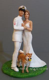cake topper torta matrimonio cane shiba inu nozze in uniforme della marina orme magiche