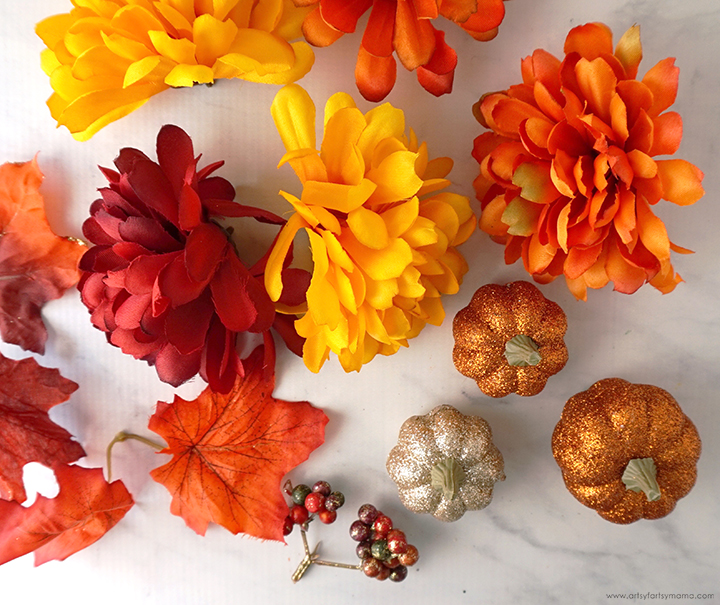 Fall Flowers, Leaves, and Glitter Pumpkins