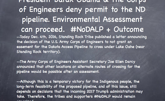 Dakota Access Pipeline Easement permit Denied. Environmental Assessment will follow.