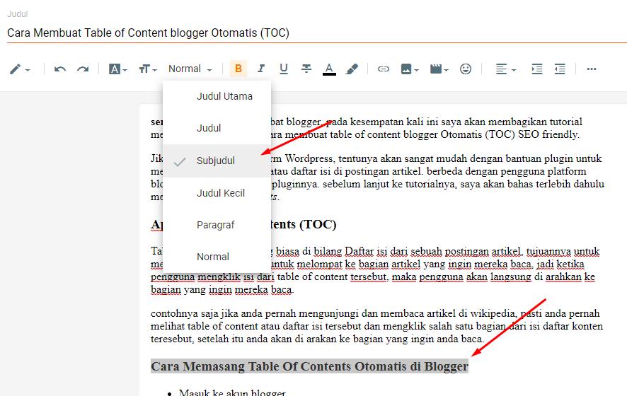 Cara Membuat Table of Content blogger Otomatis (TOC)