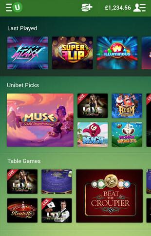 Unibet Casino Mobile Screen