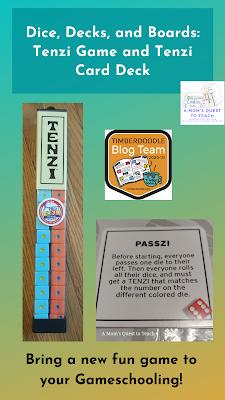 Text: Dice, Decks, and Boards: Tenzi Game and Tenzi Card Deck; Bring a new fun game to your Gameschooling!; Tenzi dice; Timberdoodle Blog Team logo; Passzi Tenzi Game rule card