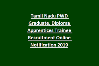 Tamil Nadu PWD Graduate, Diploma Apprentices Trainee Recruitment Online Notification 2019
