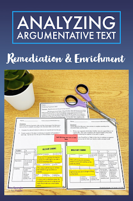 Remediation and Enrichment are a big part of learning how to analyze argumentative text in middle school.