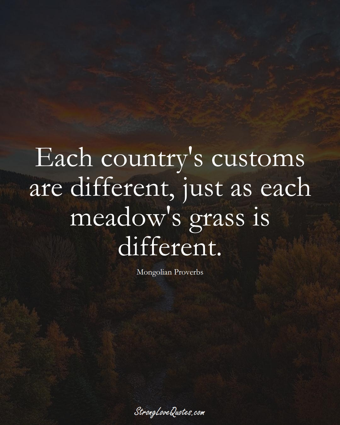 Each country's customs are different, just as each meadow's grass is different. (Mongolian Sayings);  #AsianSayings