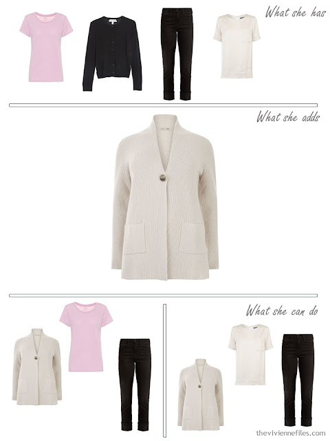adding an ivory cardigan to a capsule wardrobe