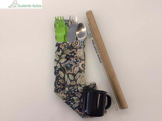 Kit lixo zero com talheres, canudo de vidro e xícara