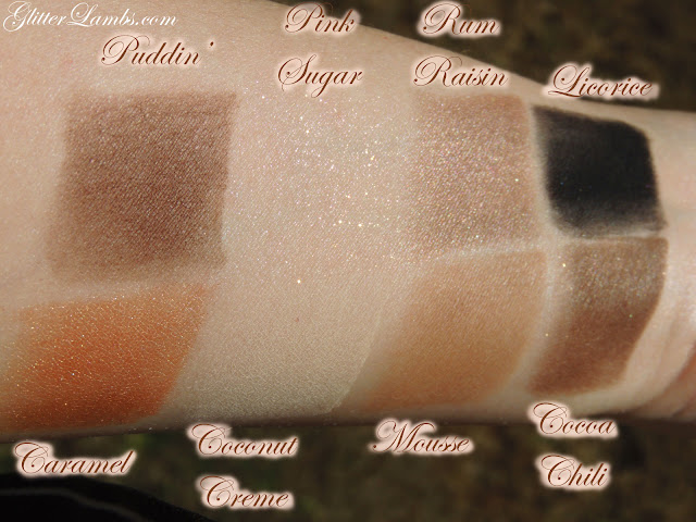 "Too Faced ""Semi-Sweet Chocolate Bar"" Palette swatches review. Makeup eyeshadow-GlitterLambs.com"