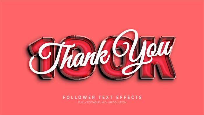 100K Thank Uou 3D Text Effect Generator And Text Style Effect