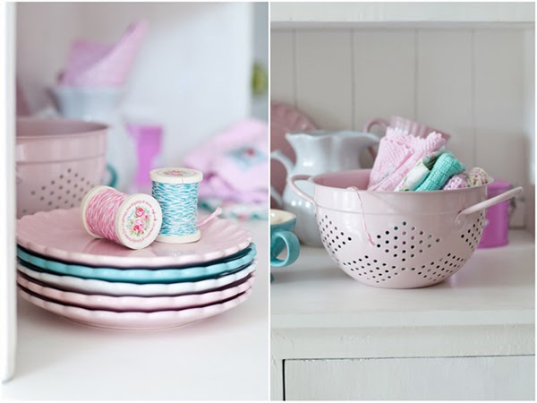 pink pastel colander and spools of bakers twine from Greengate