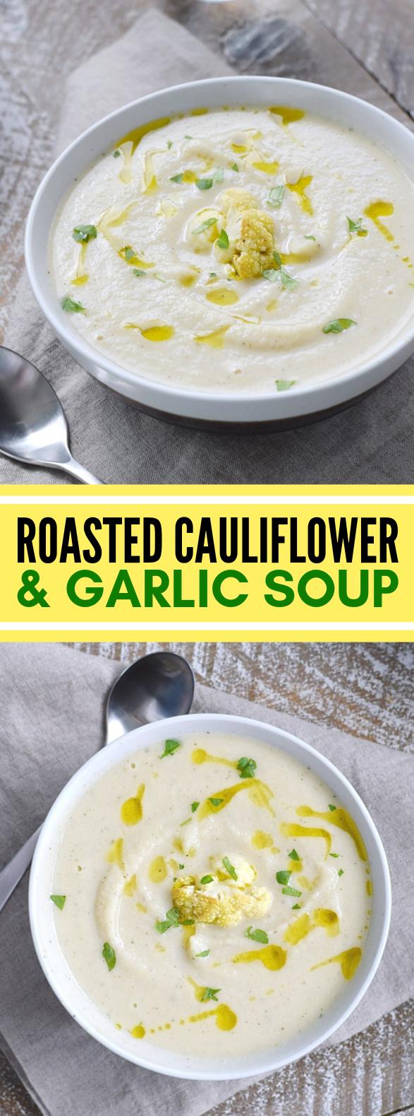 ROASTED CAULIFLOWER AND GARLIC SOUP #vegetarian #whole30