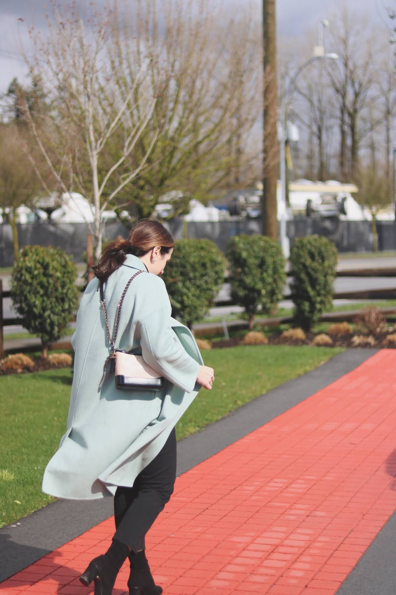 sage green wool mango coat spring outit vancouver blogger chanel gabrielel bag