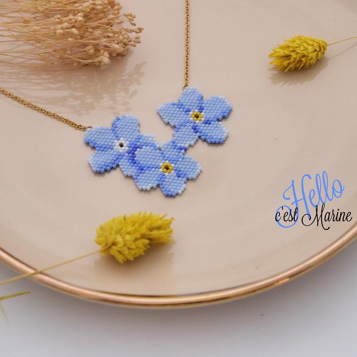 diagramme gratuit myosotis, fleur bleue, pour tissage en perles miyuki delicas 11/0